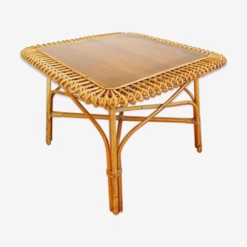 Table basse vintage en rotin osier et bois