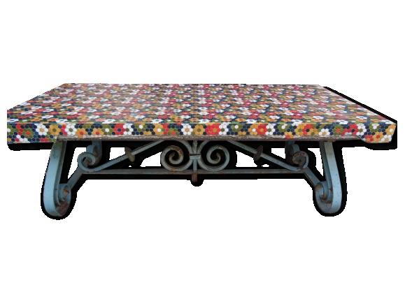 Table De Jardin Fer Forgé Et Ciment Année 70