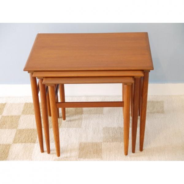 tables gigognes vintage 1960 teck bois couleur bon tat scandinave. Black Bedroom Furniture Sets. Home Design Ideas