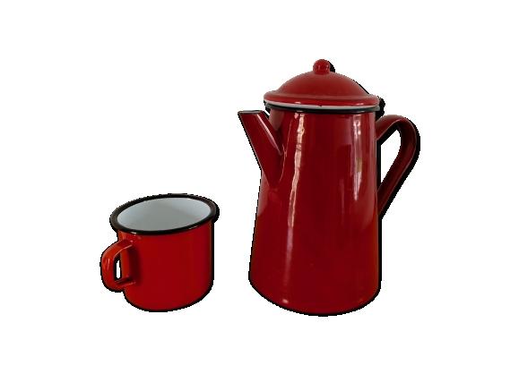 Cafetiére émaillé ibili + une tasse couleur rouge vintage