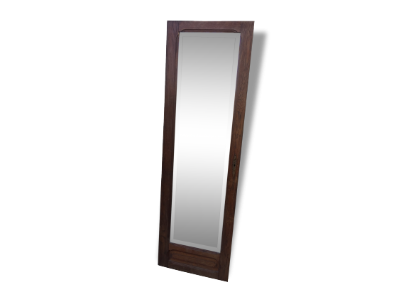 Ancien miroir biseaut vintage 1940 1950 porte d 39 armoire bois mat - Armoire porte miroir ...