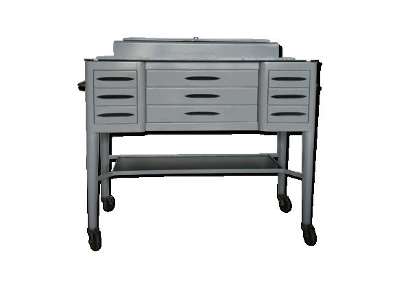 meuble de dentiste ann e 50 m tal gris bon tat industriel. Black Bedroom Furniture Sets. Home Design Ideas