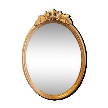 Petit miroir médaillon ovale en bois et stuc doré style Louis XVI