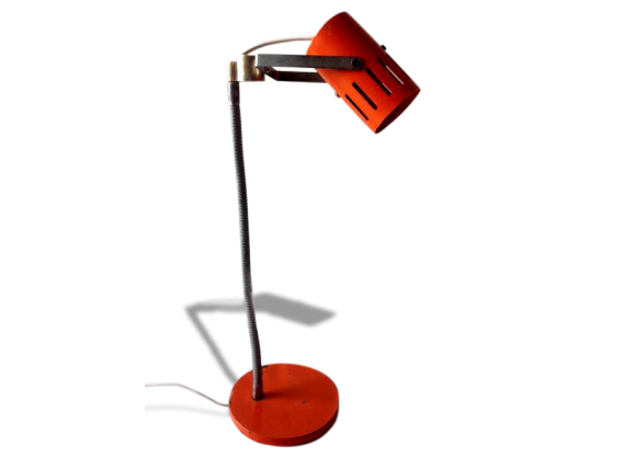 lampe de bureau industrielle orange m tal orange bon tat industriel. Black Bedroom Furniture Sets. Home Design Ideas