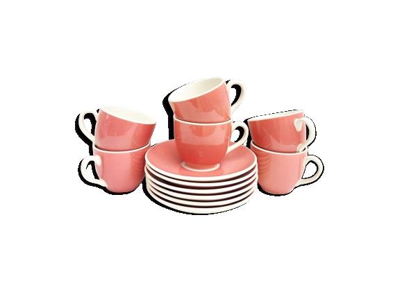 Set tasses café rose villeroy and boch 1920 saar made in germany