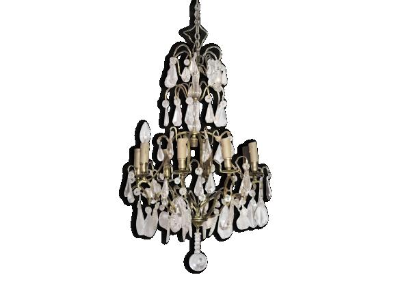 lustre à pampilles verre, cristal & bronze, 8 feux