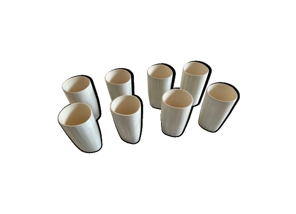 Série de 8 mugs 60's en faïence de Salins décor Caraïbes gris
