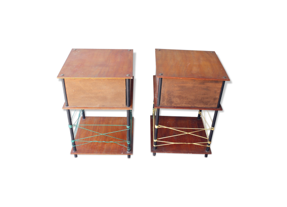 ensemble de 2 tables de chevet ann e 50 bois mat riau bois couleur bon tat vintage. Black Bedroom Furniture Sets. Home Design Ideas