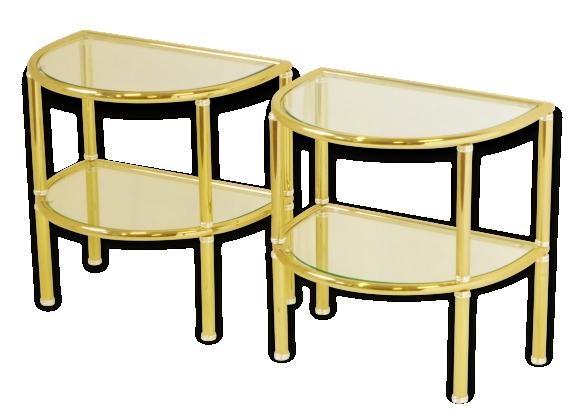 paire de chevets tables basses d 39 appoint seventies vintage 1970 chrome dor 70 39 s le fait main. Black Bedroom Furniture Sets. Home Design Ideas